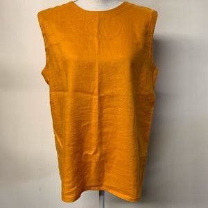 Talbots Orange Linen Lagenlook Sleeveless Blouse